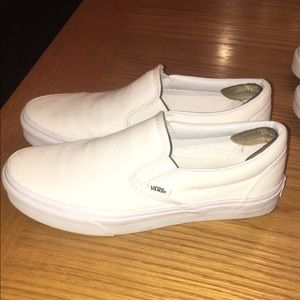 White vans low top slide on
